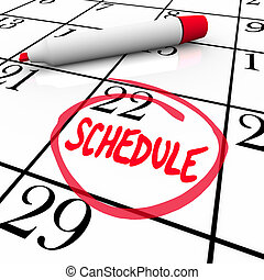 palabra, horario, dar la vuelta, calendario de cita, recordatorio