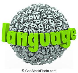 palabra, idioma, extranjero, esfera, carta, aprender, charla, hablar