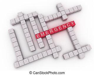 palabra, imagen, plano de fondo, emergencia, 3d, nube, concepto, asuntos