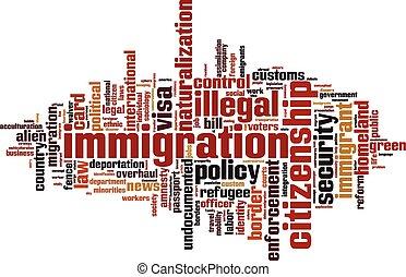 palabra, inmigración, nube