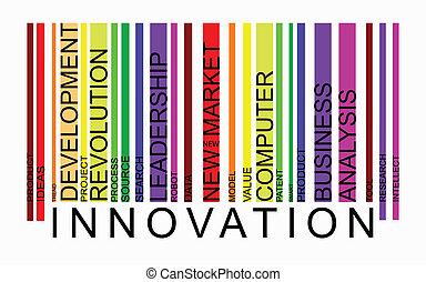 palabra, innovación, concepto, barcode