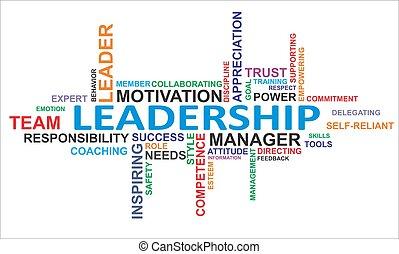 palabra, liderazgo, -, nube