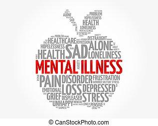 palabra, manzana, nube, enfermedad, concepto, médico, mental, plano de fondo