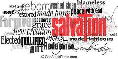 palabra, montaje, cruz, cristiano, salvación, rojo