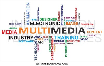 palabra, multimedia, -, nube