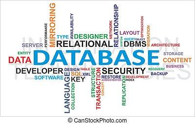 palabra, -, nube, base de datos
