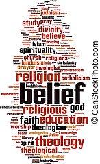 palabra, nube, creencia
