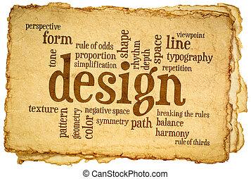 palabra, nube, elementos, diseño, reglas
