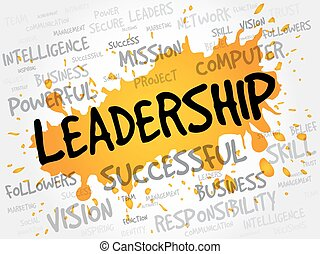palabra, nube, liderazgo