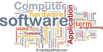 palabra, nube, software