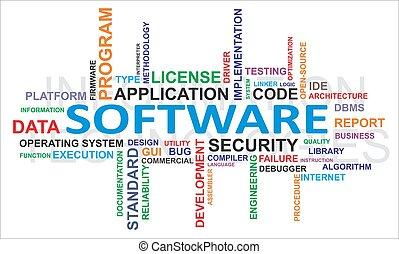palabra, -, nube, software