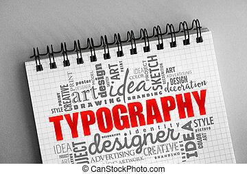 palabra, nube, tipografía, collage