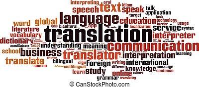 palabra, nube, traducción