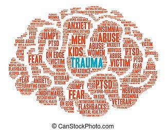 palabra, nube, trauma, cerebro