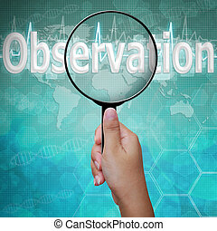 palabra, observación, médico, vidrio, plano de fondo, aumentar