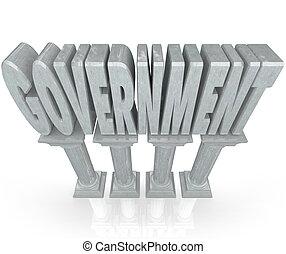 palabra, potencia, gobierno, establecimiento, mármol, columnas