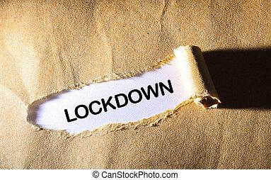 palabra, rasgado, lockdown, papel