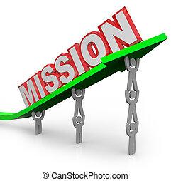 palabra, realizado, misión, trabajo, flecha, equipo, elevación