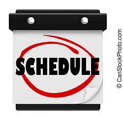 palabra, recordar, horario, pared, citas, calendario