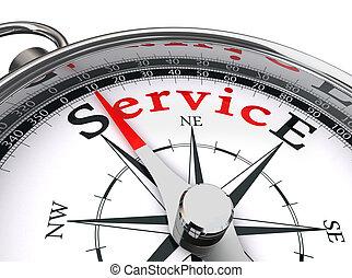 Palabra roja de servicio en brújula