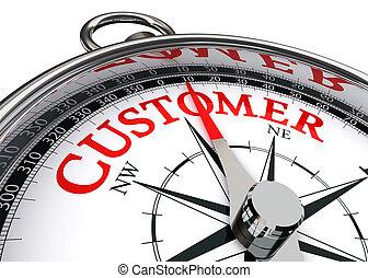 Palabra roja del cliente sobre brújula conceptual