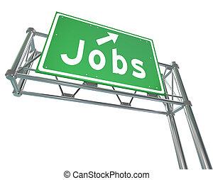 palabra, señalar, carrera, señal, autopista, verde, trabajos, nuevo, empleo