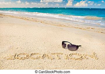 palabra, sol, arena, negro, blanco, vocación, playa, anteojos
