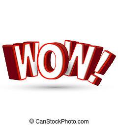 palabra, sorprendente, exposición, grande, wow, 3d, algo, cartas, sorpresa, asombroso, impresionante, rojo, asombro