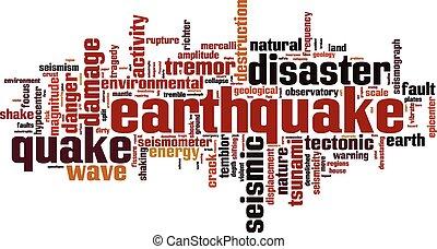 palabra, terremoto, nube