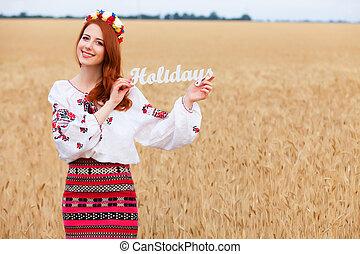 palabra, ucranio, de madera, nacional, holi, pelirrojo, niña, ropa