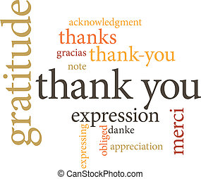 palabra, usted, nubes, agradecer