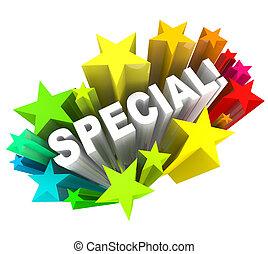 palabra, venta, ahorros, estrellas, único, acontecimiento, especial