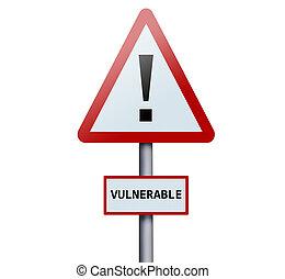 palabra, vulnerable, muestra del camino