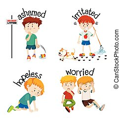 palabras, adjective, niño, sentimientos, su, expresar
