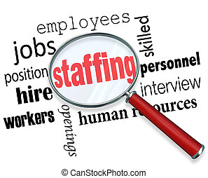 Palabras bajo una lupa con términos relacionados como trabajos, posición, trabajadores, empleados, recursos humanos y entrevistas