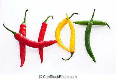 Palabras calientes hechas de rojo, amarillo y verde picante picante pimienta en blanco fondo