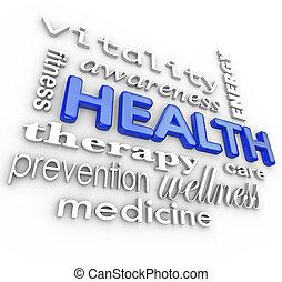 palabras, collage, salud, plano de fondo, medicina, cuidado