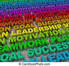 palabras, -, colorido, éxito, principios
