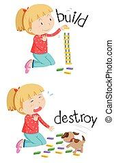palabras, contrario, destruir, construya