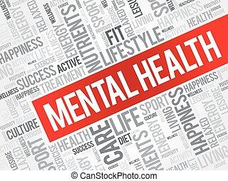 Palabras de salud mental nublan el fondo