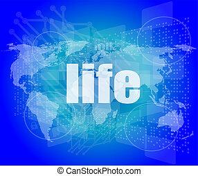 Palabras de vida en pantalla digital de negocios