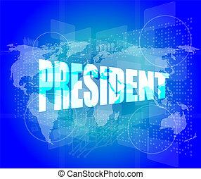Palabras del presidente en pantalla digital con mapa mundial