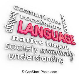 palabras, idioma, collage, comunicación, comprensión, aprendizaje, 3d