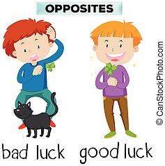 Palabras opuestas para la mala suerte y la buena suerte