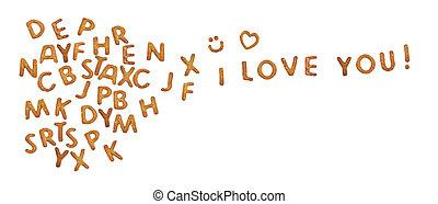 Palabras que me encantan hechas de pretzels