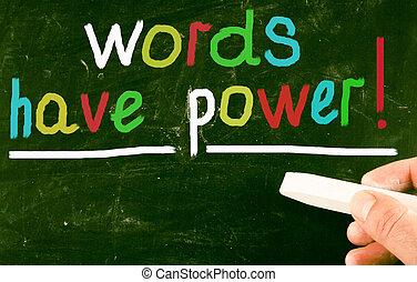palabras, tener, power!