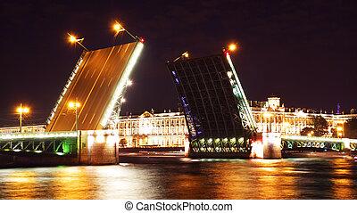 palacio, c/, noche, petersburg, bridge., rusia, vista