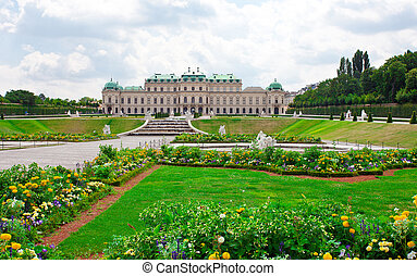 palacio de belvedere, vienna., flowers., austria