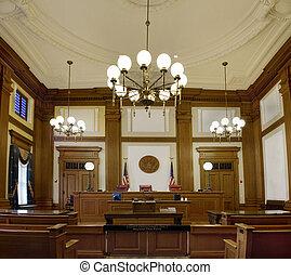 palacio de justicia, oregón, céntrico, pionero, courtroom, portland
