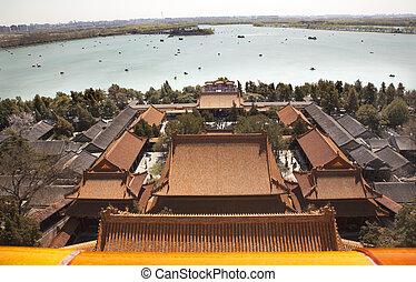 palacio de verano, beijing, lago, longevidad, kunming, china, colina